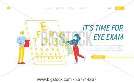 Myopia Or Nearsightedness, Vision Diseases Landing Page Template. Eye And Optical System Check Up. M