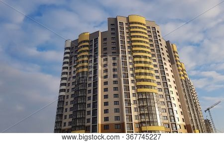 Construction Microdistrict City High-rise Buildings. Reliability And Strength Structure. Selling Hou