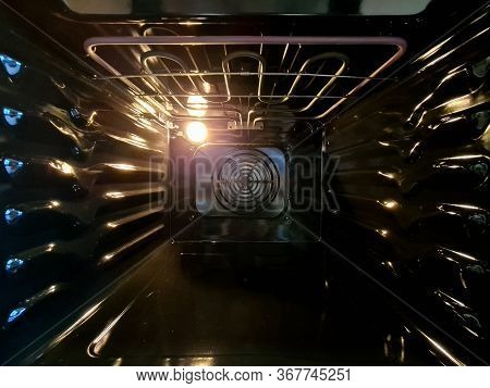 Kitchen Inside View Oven, Microwave With Grill. Stylish Design, Ergonomic Shape. Black Case Is Made