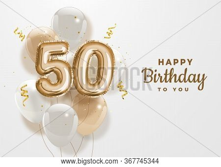 Happy 50th Birthday Gold Foil Balloon Greeting Background.50 Years Anniversary Logo Template- 50th C
