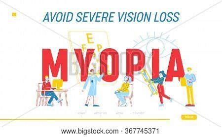 Myopia Disease, Optician Treatment Landing Page Template. Ophthalmologist Doctor Character Test Eyes