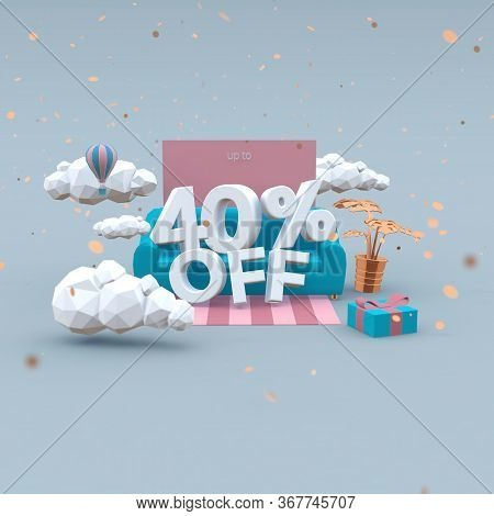 40 Forty Percent Off 3d Illustration In Cartoon Style. Sale Concept.