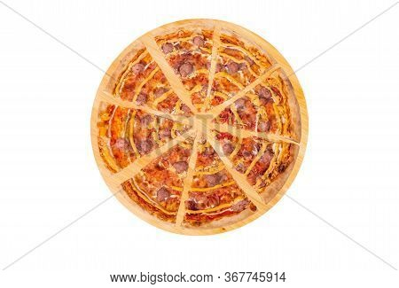 Sliced Pizza With Beef Sausages, Mozzarella, Various Sauces And Marinated Red Onions On A Round Wood