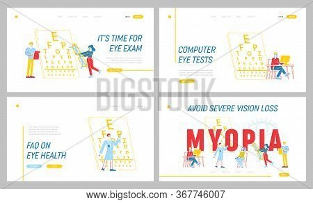 Myopia Disease, Optician Treatment Landing Page Template Set. Ophthalmologist Doctor Character Test