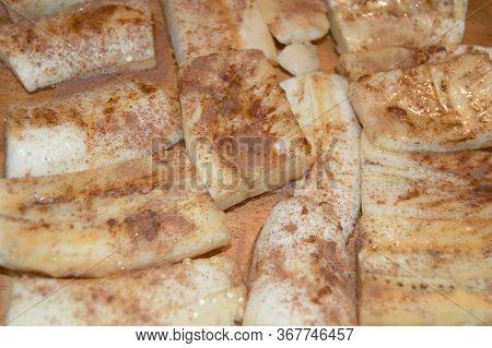 Cinnamon On Plantain Bananas For Filipino Turon
