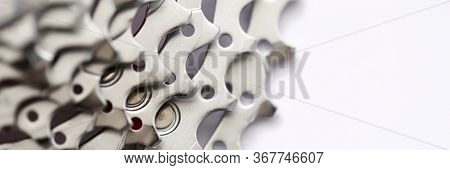 Large Number Metal Gear Sprocket For Bicycle. Detail With Pointed Teeth For Bicycle Or Motorcycle. H