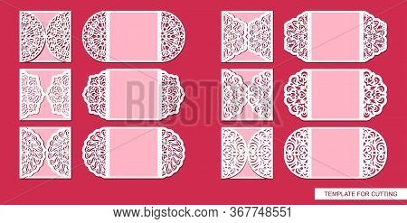 Set Of Lace Greeting Cards With Beautiful Ornament Cut Out Of Paper. Invitation Template With Foldin
