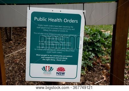 Sydney, Australia 2020-05-24 Public Health Orders Sign In A Public Park In Nsw, Australia During The