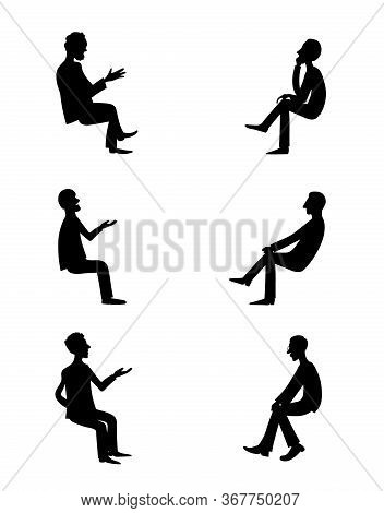 Talk Shows, Interview Or Discussion. Men Talking, Argue And Gesticulate . They Sit Facing Each Other