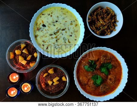 Indian Dishes, Dessert And Three Candles, Kurkuri Bhindi Or Crispy Okra, Kheer Or Indian Rice Puddin