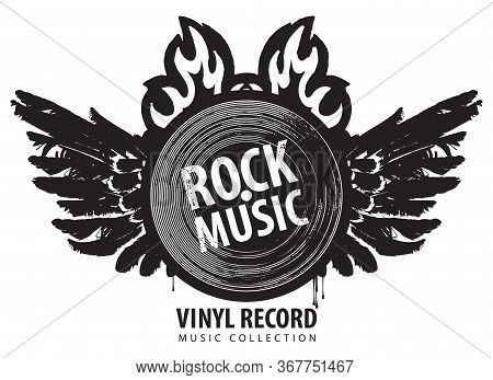 Vector Music Banner With A Winged Vinyl Record On Fire. Black And White Illustration With The Words
