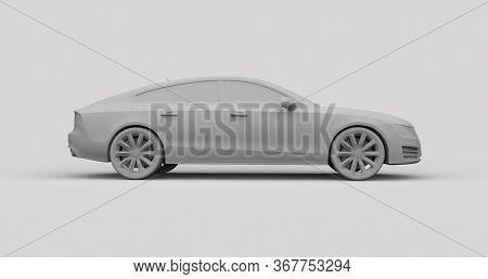 Executive Car Mid-size Luxury Car, Layout Grey German Liftback,Blank PremiumCar Side Sportback, Coupe, SportbackMockup, 3d Illustration