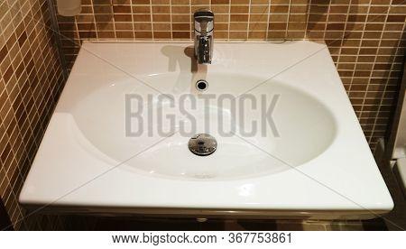 Interior Of Bathroom With Sink Basin, Modern Bathroom In Luxury House, Modern Wash Basin In The Bath