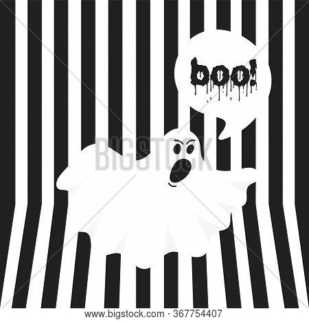 Boo Ghost Halloween Message Concept. Flying Halloween Funny Spooky Ghost Character Say Boo With Text