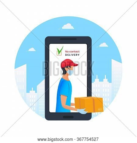 Contactless Delivery To Home Via Mobile App. E-commerce Concept. Young Courier Holding Cardboard Box