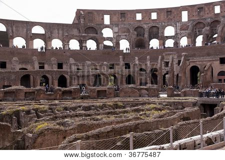 Amphitheatre Of The Coliseum In Rome, Italy