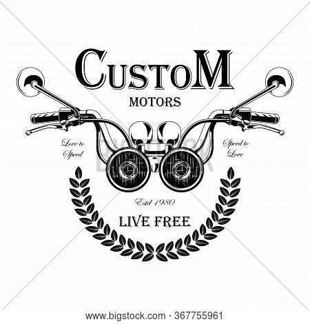 Black And White Motorcycle Emblem With The Image Of A Motorcycle Steering Wheel. Design Elements For