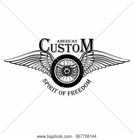 Black And White Motorcycle Emblem With The Image Of A Motorcycle Wheel And Wings. Vector Image On A