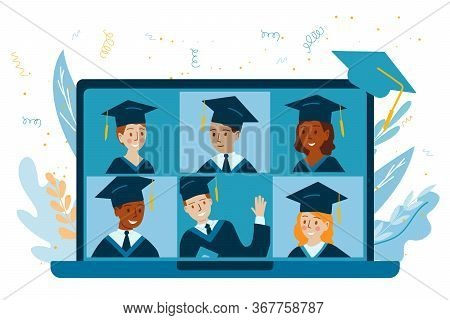 Teleconference In Laptop. Class Of 2020 Online Virtual. Graduation Video Conference. College Or Univ