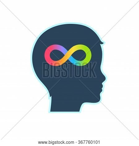 Child Head Profile Silhouette With Rainbow Infinity Symbol. Autism Spectrum Disorders And Neurodiver