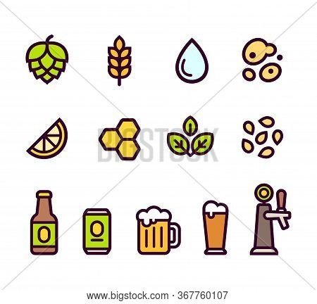 Beer Icon Set. Beer Brewing Ingredients And Flavorings, Serving Glasses And Containers. Simple Carto