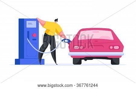 Modern Man Refilling Car On Gas Station