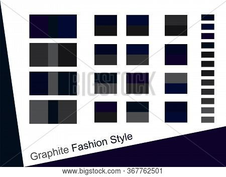 Graphite Gray And Navy Blue Color Palette Trend Collection. Dark Blue And Dark Gray Sample Scheme De
