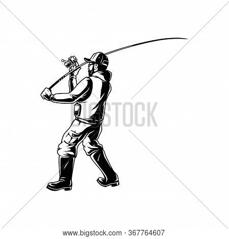 Fishing Vintage Monochrome Template With Angler Holding Fishing Rod Isolated Vector Illustration