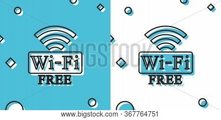 Black Free Wi-fi Icon Isolated On Blue And White Background. Wi-fi Symbol. Wireless Network Icon. Wi
