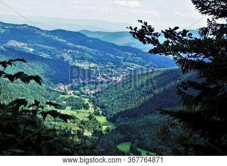 Panoramic View Over The Valley Of The La Petite Fecht River In The Vosges, France On A Sunny Day