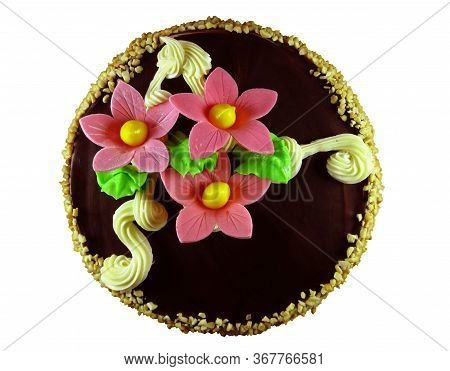 Nut Cake, Isolated On White Background. Clipping Path Included.