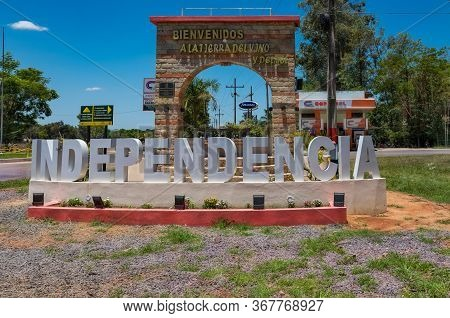 Colonia Independencia, Paraguay - November 17, 2019: Independencia Letters Greet Visitors To Colonia