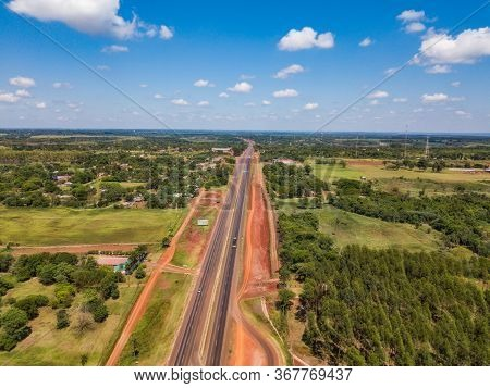 Aerial View Of The New Route 7 (ruta 7) From Caaguazu To Ciudad Del Este In Paraguay, Which Has Been