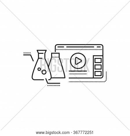 Science Blog Web Site Black Line Icon. Nano Industry Video Streaming. Vlogging Sign. Pictogram For W