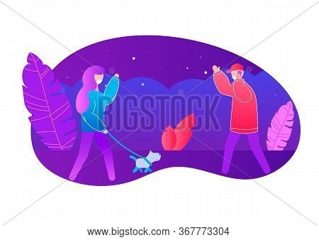 Woman Walking With Small Dog Waving Hand To Man In Disposable Mask To Protect Against Virus At Safe