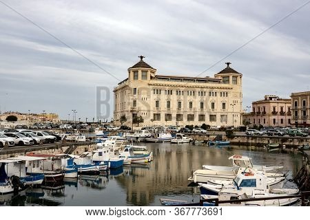 Siracusa, Sicily - February 13, 2020: The Harbour With A Lot Of Ships And Yachts In Siracusa City, S