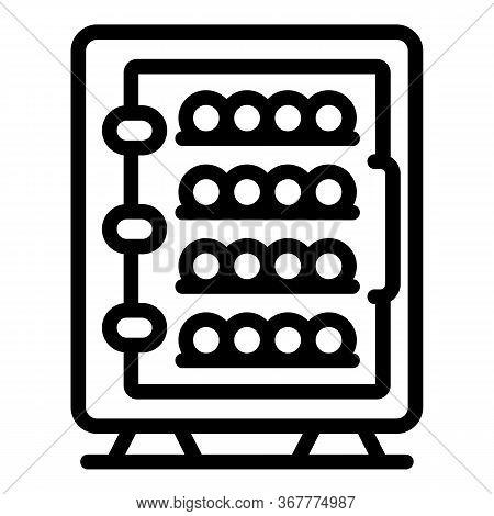 Wine Fridge Icon. Outline Wine Fridge Vector Icon For Web Design Isolated On White Background