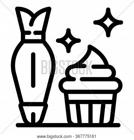 Cream Cupcake Icon. Outline Cream Cupcake Vector Icon For Web Design Isolated On White Background