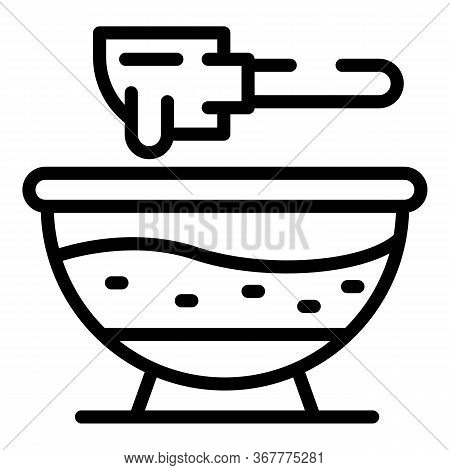 Bowl With Dough And Paddle Icon. Outline Bowl With Dough And Paddle Vector Icon For Web Design Isola