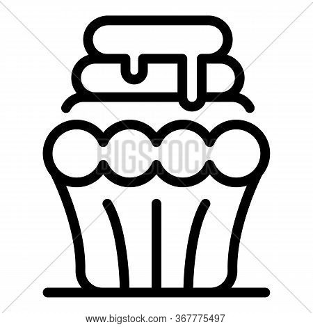 Sliced Cupcake Icon. Outline Sliced Cupcake Vector Icon For Web Design Isolated On White Background