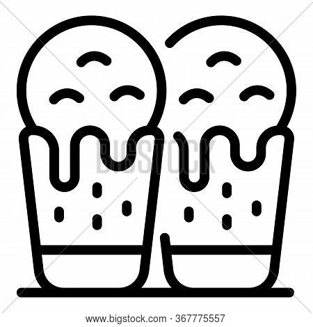 Ice Creams In Waffle Cups Icon. Outline Ice Creams In Waffle Cups Vector Icon For Web Design Isolate