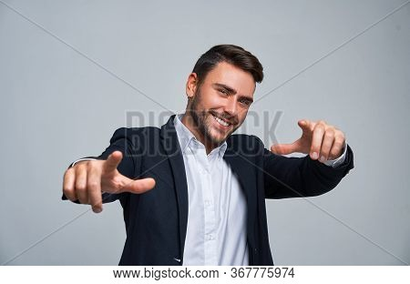 Portrait Young Smiling Businessman. Caucasian Guy Business Suit Studio Gray Background. Modern Busin