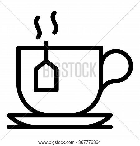 Teacup With Teabag Icon. Outline Teacup With Teabag Vector Icon For Web Design Isolated On White Bac