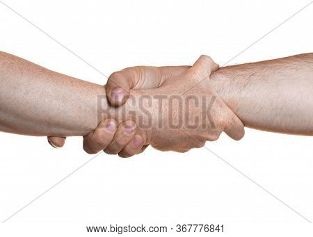 Strong Handshake. Support In Difficult Times. Teamwork Concept. Strong Handshake. Support In Difficu