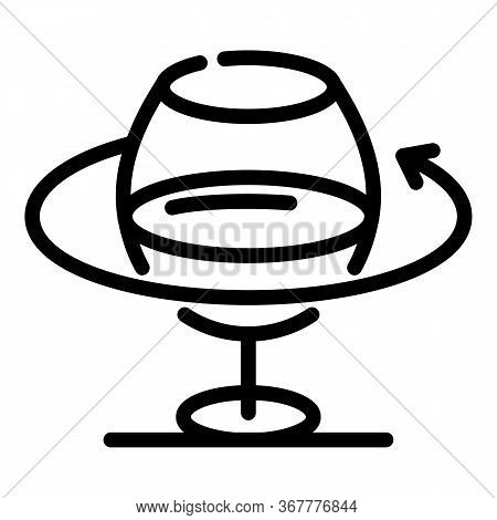 Turning A Wine Glass Icon. Outline Turning A Wine Glass Vector Icon For Web Design Isolated On White