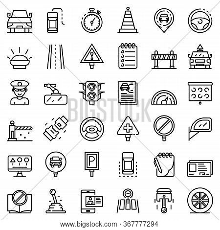 Driving School Icons Set. Outline Set Of Driving School Vector Icons For Web Design Isolated On Whit