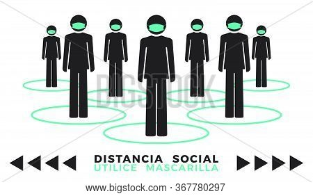 Group Of Human Icon Wearing Face Mask. Spanish Phrase: Social Distancing Use Face Mask. Flat Icon Ve