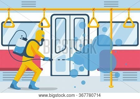 Worker In Protective Suit Disinfects Empty Subway Car. City Public Transport. Vector Illustration Fl