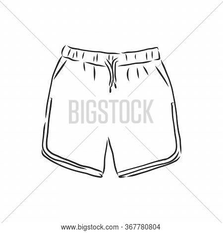 Vector Illustration Of Shorts. Casual Clothes. Shorts, Vector Sketch Illustration