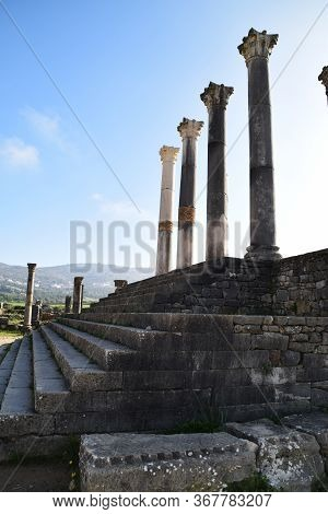 Stairs And Columns In Old City Of Roman Empire
